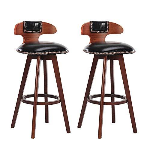 HOMRanger Taburete de Bar, taburetes Altos de Restaurante, sillón de Madera Maciza, reposapiés Giratorio de 60 cm de Alto Adecuado para 100 Barras de Bar 3 Colores (Color: marrón)