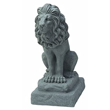 """EMSCO Group Guardian Lion Statue – Natural Granite Appearance – Made of Resin – Lightweight – 28"""" Height"""