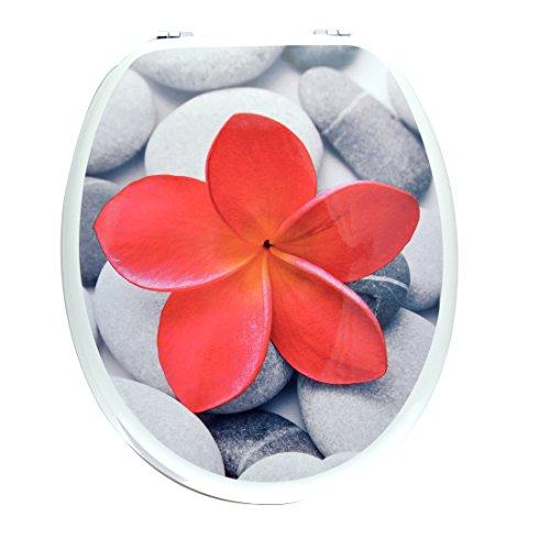 Abattant WC bois bleu décor fleur rouge