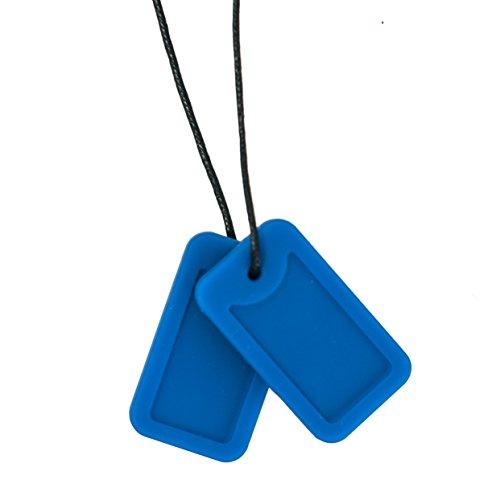 Chewigem - Collar sensorial con forma de placas de identificación - Juguete para morder para autistas