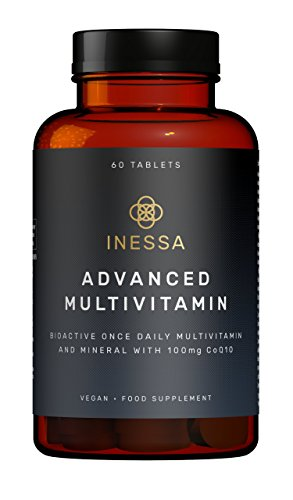 Inessa Multivitamin with CoQ10 100mg, Vitamin D3 2000 IU, K2 100mcg, B Complex, Vitamins A 800mcg, Folic Acid as 5-MTHF 400mcg, Zinc 20mg and Lutein