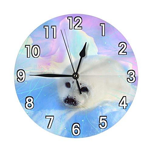 Lewiuzr Lindo Reloj de Pared con Sello antártico, Funciona con Pilas, silencioso, Redondo, decoración de Pared, 9,8 Pulgadas