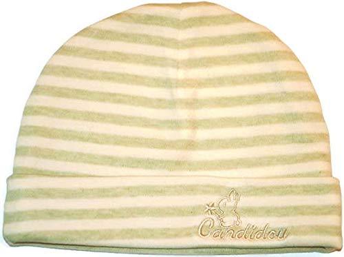 Candidou Bonnet en Coton Bio pour Bébé Unisexe Fille Garçon 3-6 mois Beige Rayures Vertes