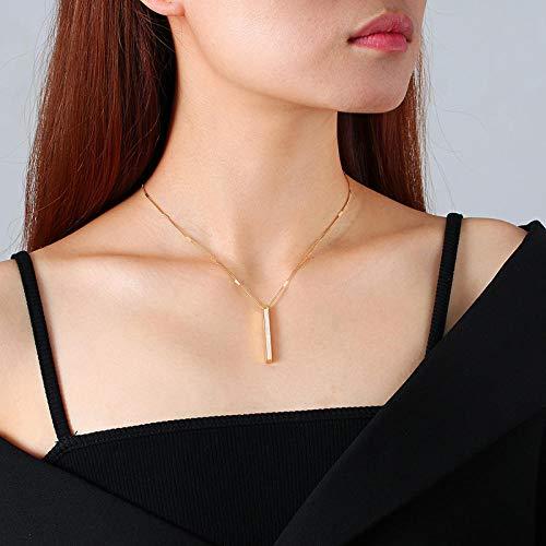 Collares Colgante Joyas Collar De Barra Vertical Colgante De Acero Inoxidable De Color Dorado para Mujer con Inserto De Concha Joyería De Cuello De Dama De Temperamento Vintage