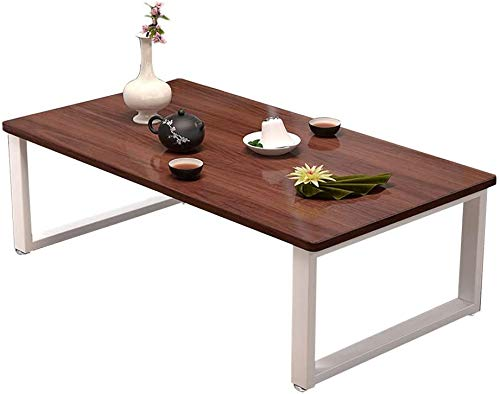 Lloow Mesa de café, Cama de Madera Maciza Mesa de café/Tabla de Marco de Acero Kang + Tabla de Madera de Primera Estilo japonés sólida Mesa de casa de té Que Viven,60X40X40CM