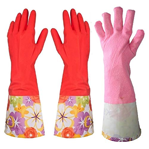 Kitchen Rubber Dishwashing Cleaning Gloves with Warm Lining Large 1 Pair