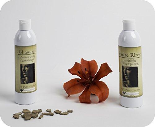 Set completo de polvo de arcilla/ghassoul - para el cuidado del cabello y del cuerpo sin químicos ni jabón