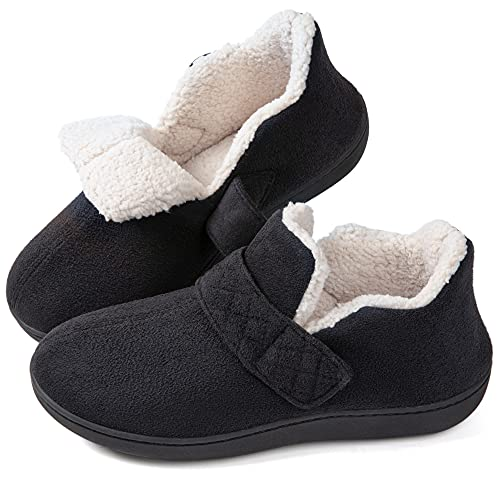 ZIZOR Women's Cozy Memory Foam Slippers with Adjustable Closure Strap, Fleece Lining Closed Back House Shoes with Anti-Slip Indoor Outdoor Rubber Sole(Black, Size 8)