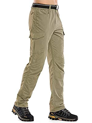 linlon Fulture Direct Mens Hiking Pants Quick Dry Lightweight Fishing Camping UPF 50+ Cargo Pants with Pockets,Khaki,32