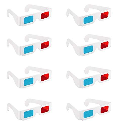 Gafas 3D, 20 pares de lentes estéreo de papel rojo y azul para decoración de películas