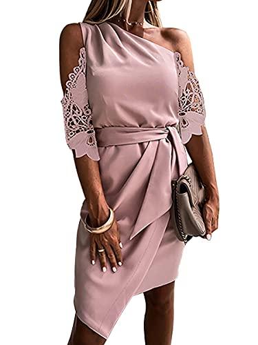 ORANDESIGNE Vestito da Cerimonia Donna Senza Maniche Abito Monospalla Elegante Vestito Midi Estivo Tinta Unita Senza Schienale Bodycon Abito Volant Vestiti da Sera Cocktail b Rosa M
