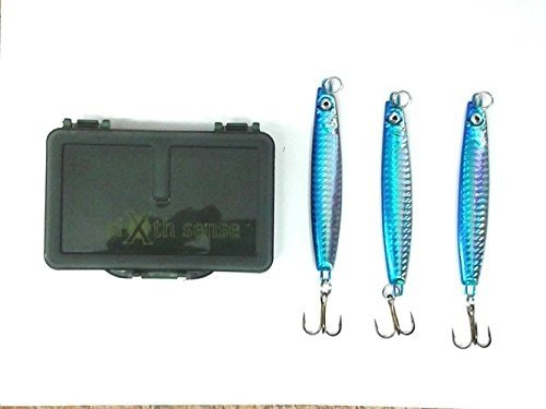 Marauder 3 Casting Lures in Tackle Box in 40g or 60g and 3 Colours (Ideal for Sea, Pike Fishing) (One of Each)