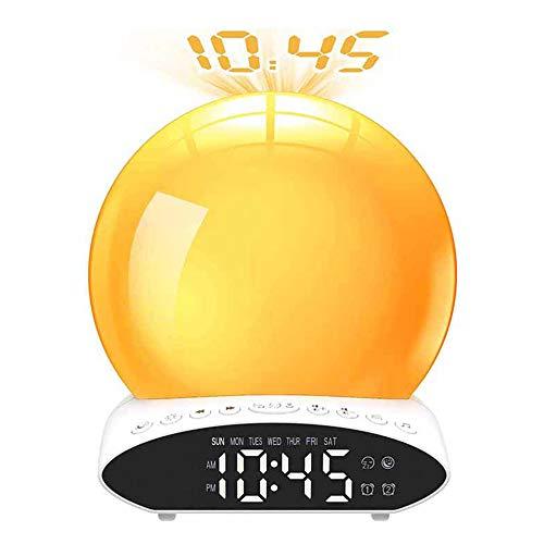 Digital Lichtwecker, Wake Up Licht Wecker mit Projektion, USB Sonnenaufgang Sonnenuntergang Simulation Nachtlicht, Digitaluhr mit 20 Helligkeit/2 Alarmen/7 Farben Licht/FM Radio/Snooze Funktion
