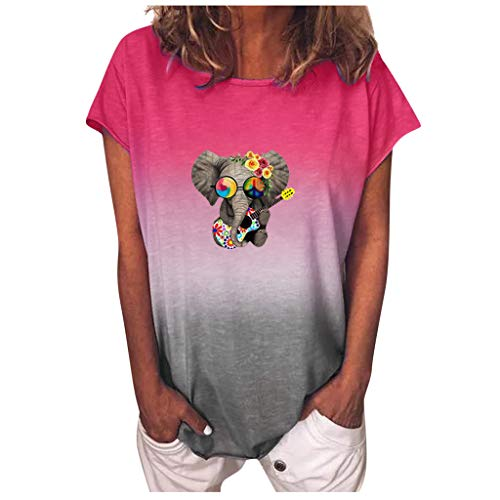 Qigxihkh ModeDamen Farbverlauf Sonnenblumendruck O-Ausschnitt Kurzarm T-Shirt Bluse Tops(1-Leuchtend rosa, 5XL)