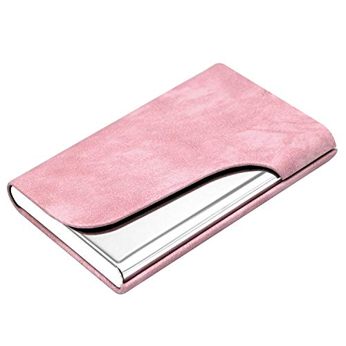 Padike Business Name Card Holder Luxury Leather & Stainless Steel Multi Card Case,Business Name Card Holder Wallet Credit Card ID Case- Keep Your Business Cards Clean (Pink)