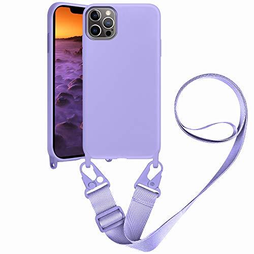 SAMCASE Handykette Hülle für iPhone 12 PRO MAX, Necklace Hülle Nylon Schultergurt Weich Flüssiges Silikon Handyhülle mit Kordel zum Umhängen Schutzhülle mit Stylische Band, Violett