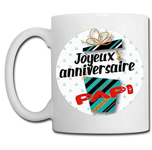 Linyatingoshop - Tazza con scritta 'Joyeux Anniversaire' in Francia, idea regalo per compleanno