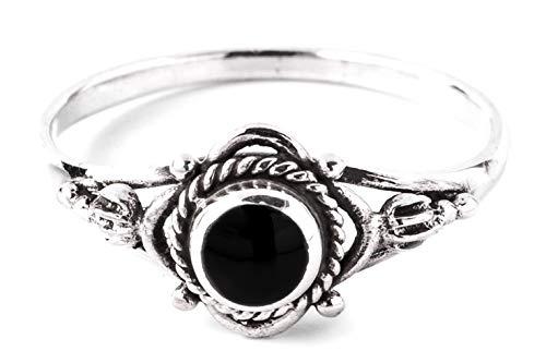 WINDALF Zarter Mediaval Damen Ring SIANA Ø 0.8 cm Freundschaftsring mit Onyx Bohemia Schmuck Vintage 925 Sterlingsilber (Silber, 56 (17.8))