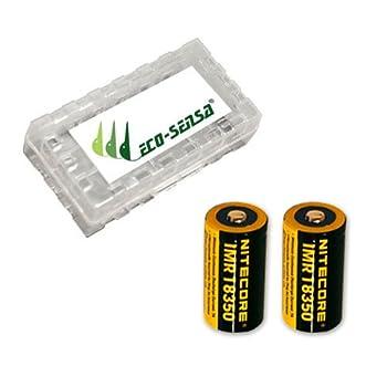 2x Nitecore IMR 18350 7A Li-Mn Rechargable Battery  700mAh  NI18350A w/FREE Eco-Sensa Battery Case  Just batteries & Eco-Sensa Battery Case