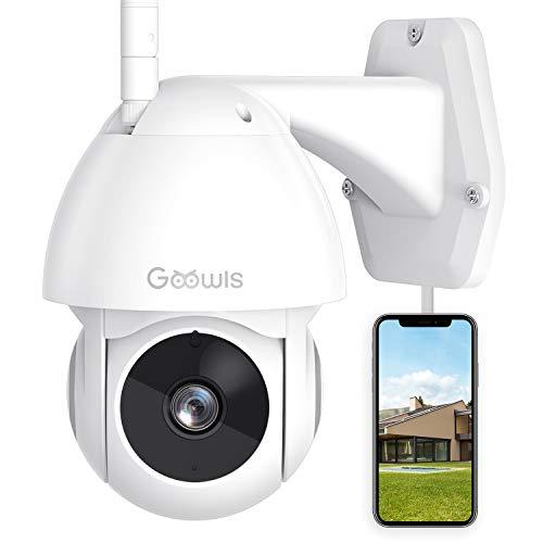 Cámara de Vigilancia Interior/Exterior, Goowls WiFi Cámara con Vista panorámica/inclinación de 360 °, IP66 a Prueba de Agua, Visión Nocturna, Detección de Movimiento, Audio Bidireccional