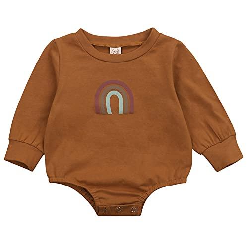 Yumeng Mono de una pieza para recién nacido, de manga larga, con cuello redondo, diseño de arco iris, para bebé recién nacido