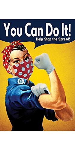 """ABGPrint Rosie the Riveter Mask Poster - Safety Awareness Prints - 11""""x17"""" Premium Paper Laminated Signs to Prevent Disease Spread - Perfect for Businesses, Offices, Restaurants"""