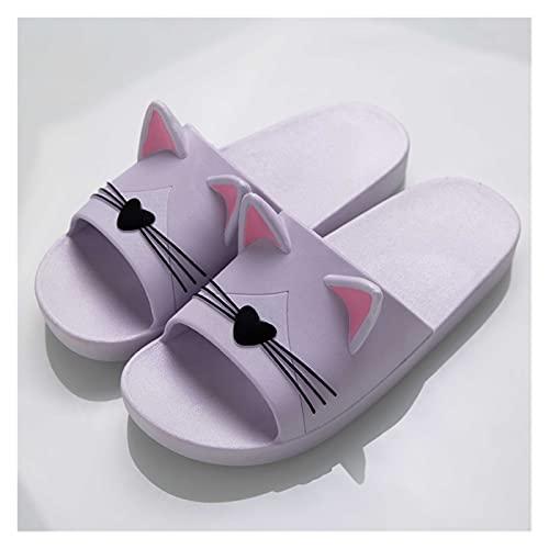 Youpin Zapatillas de verano para mujer, sandalias de playa con dibujos animados y gatos, suela suave, cómodas, para hombres, parejas, zapatos para bañarse (color: morado, talla de zapato: 8)