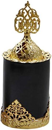 Basage Keramiek Wierook Brander Houder Metalen Arabische Stijl Wierook Brander voor Home Decoratief Luxe Ornamenten Zwart