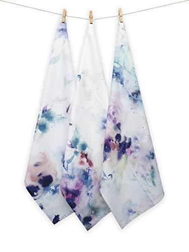 Harry Kritz Color Splatter and Smear Kitchen Towels Set of 3, 20 by 27 inch, 100% Cotton Designer Tea towel, Dish Cloth Washable, Blue Color Bar Towel