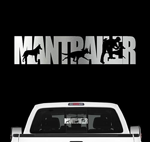 siviwonder Mantrailer Team Hundesport Auto Aufkleber Hund Folie Rettungshund Suchhund Farbe Silber Metallic, Größe 60cm