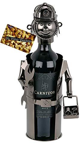BRUBAKER Weinflaschenhalter Klempner - Flaschenständer Deko-Objekt aus Metall - Flaschenhalter Handwerker mit Grußkarte für Weingeschenk