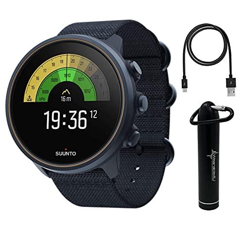 SUUNTO 9 Baro Multisport GPS Smartwatch, Water Resistant, Alti/Baro Profile, Granite Blue/Titanium with Wearable4U Power...