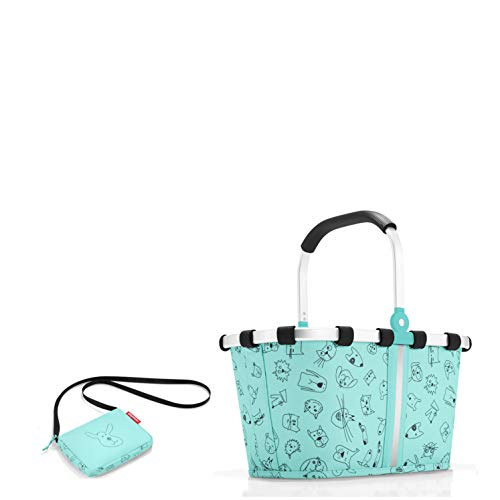 reisenthel Kinder Einkaufskorb/carrybag XS + kleine Tasche (itbag car´s & Dog´s Mint)