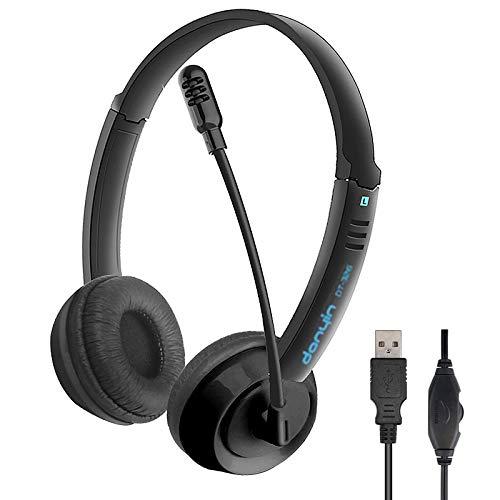 HAL Stereo USB Headset mit Mikrofon für PC, Noise Cancelling Mikrofon und Lautstärkeregler, Laptop/Computer Kopfhörer für Skype/Call Center/Büro, Klarere Stimme, Super Leicht, Ultra Bequem - Schwarz