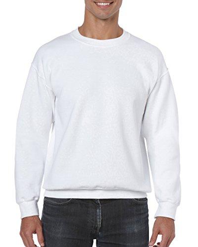 Gildan Men's Fleece Crewneck -Sweatshirt, Style G18000, White, Large