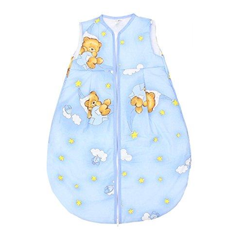 TupTam Baby Schlafsack Wattiert ohne Ärmel ANK001, Farbe: Bärchen Mond Blau, Größe: 80-86