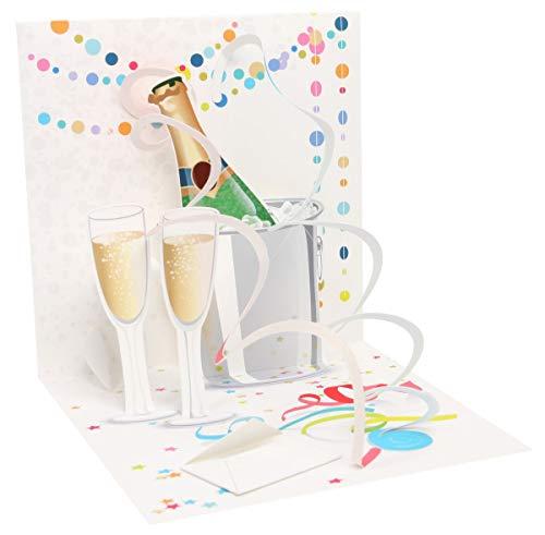 PopShots Studios Pop Up 3D Karte Hochzeit Geburtstag Grußkarte Sekt Feiern Anstoßen 13x13cm