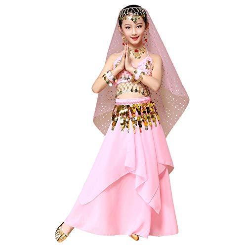 Mädchen Kleid Bauchtanz Kleidung Tanzkleid Kinder Ägypten Indische Verkleidung Pailletten Spitzenrock Prinzessin Kleid Karneval Party Kostüm Tanzkleidung Oberteil + Pluderhosen M