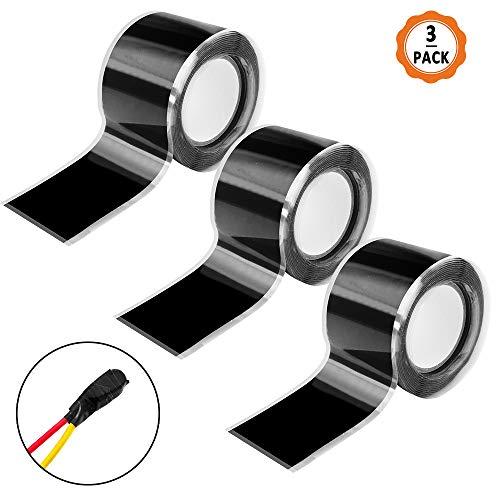 Selbstverschweißendes Silikonband 3Pcs Reparaturklebeban wasserfest Silikon Tape Isolierband Hitzebeständig Dichtungsband Schwarz(25cmm*150cm)