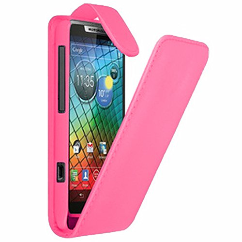 VComp-Shop® Kunstleder Handy Schutzhülle mit einer vertikalen Klappe für Motorola Razr i XT890 + GRATIS Bildschirmschutzfolie - PINK