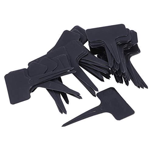 Healifty - Marcador para macetas de 100 unidades, tipo T, color negro, 10 x 6 cm, etiquetas de plástico para plantas de jardín