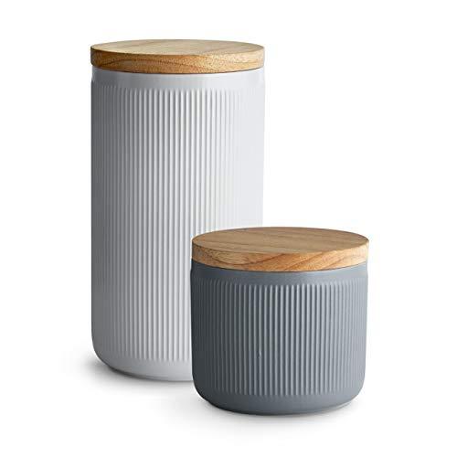 Keramik Vorratsdosen 2-tlg. Set mit Holzdeckel Stripes, Kautschukholz-Deckel, Aufbewahrungsdosen, Frischhaltedosen