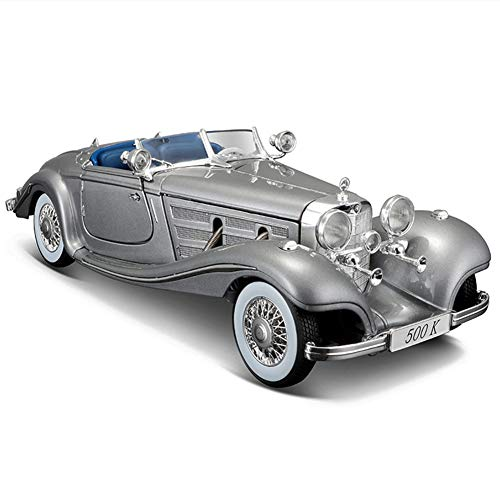 Maqueta Coches Antiguos, Coches a Escala 1/18 de Metal, Retro Vintage Car Juguetes de Aleación de Coche, Modelo Terminado, Regalos de Cumpleanos, Coleccionables,Silver