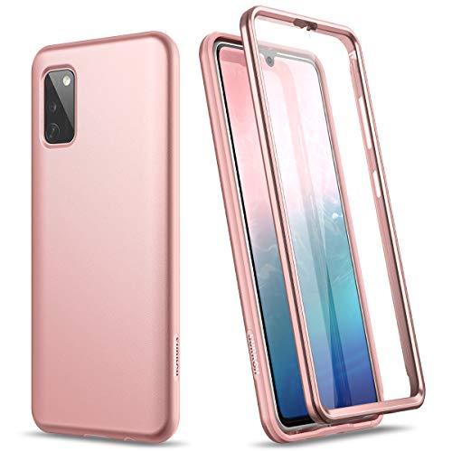 SURITCH Kompatibel mit Samsung A41 Hülle Silikon Hüllen mit Integriertem Bildschirmschutz 360 Grad Bumper Stossfest Handyhülle Schutzhülle für Samsung Galaxy A41 (Roségold)