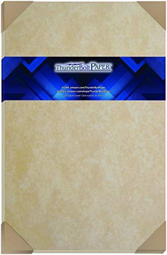 50 Parchment 60# Text (=24# Bond) Paper Sheets - 11' X 17' (11X17 Inches) Tabloid|Ledger|Booklet Size - Vintage Colored Old Parchment Semblance
