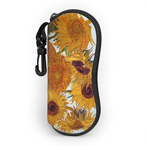 HAlidey Fundas de Gafas Van Gogh Sunflower Gafas de sol Estuche blando Ligero Portátil con cremallera Gafas Bolsa Bolsa de seguridad para gafas con gancho para llavero