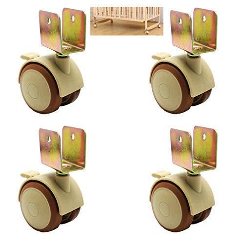 4 ruedas giratorias de 2 pulgadas con freno para muebles de mesa de garaje, accesorios para ruedas de carga de 100 kg, doble rueda, silencioso, con soporte en U (25 mm/1 pulgada)