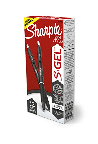 Sharpie S-Gel, Gel Pens, Ultra Fine Point (0.38mm), Black, 12 Count