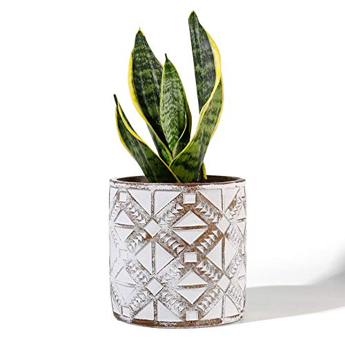 POTEY Cement Planter Flower Pot - 4.8 Inches Vintage Indoor Plants Containers Unglazed Medium Bonsai Concrete with Drain Hole - Bronze, Geometry Embossment