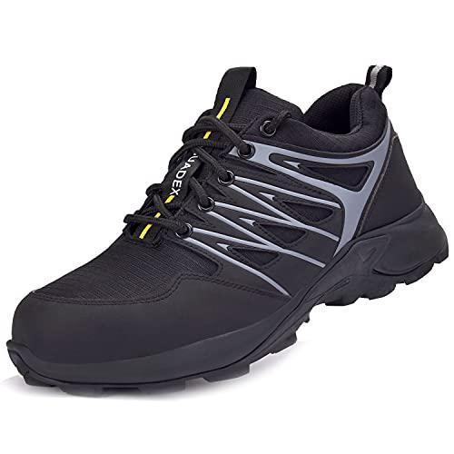 BAOLESEM Wanderschuhe Herren wasserdicht Trekkingschuhe Männer Hiking Schuhe rutschfest Bergschuhe für Klettern Reisen Sport,01 Schwarz,EU43